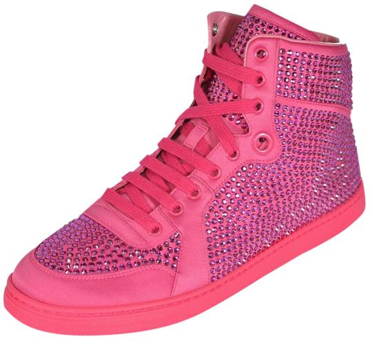 gucci new women 39 s coda pink satin effect crystal stud high top sneaker bright pink athletic. Black Bedroom Furniture Sets. Home Design Ideas