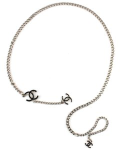 Chanel #11497 CC long triple charm silver chain necklace belt two way