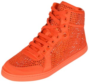 Gucci Sneakers High Top Crystal Vibrant Orange Athletic