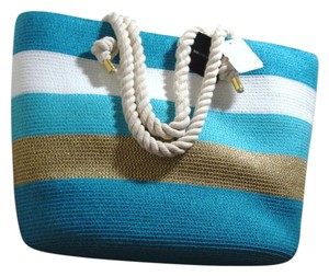 Saks Fifth Avenue Straw Straw Ave Straw Handbag Ave Tote in Turquoise/gold/white