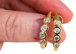Other 1 CT Four Bezel Set Stones Each l4K Yellow Gold Diamond Hoop Earrings