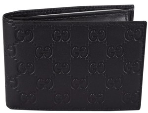 Gucci NEW Gucci Men's 292534 Black Calf Leather GG Guccissima W/Coin Bifold