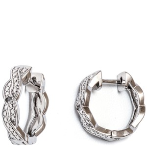 TORI HAMILTON 18K White Gold Plated Braid Huggie Earrings with Swarovski Elements