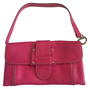 Kate Spade Leather Signature Hot Pink Clutch
