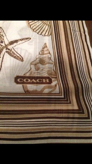 Coach New with Tag Authentic Coach Resort Shells 40x40 Brown Scarf Nwt $118