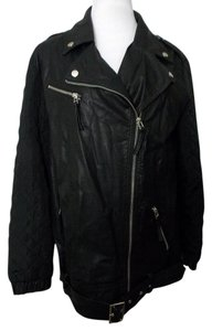 Forever 21 21 Moto Faux Leather Motorcycle Quilted Sleeves Motorcycle Jacket