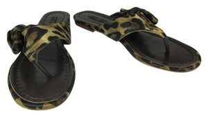 Louis Vuitton Brown Leather Flat Leopard Sandals