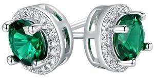 TORI HAMILTON 18K White Gold Plated Round Nano Emerald Stud Earrings
