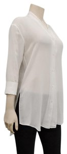 Helmut Lang Drop Button Cuffs Side Slits Hi Lo Hem Sheer Button Down Shirt White