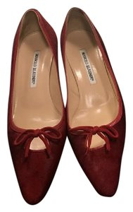 Manolo Blahnik Pointed Toe Flat Tie Red Mules