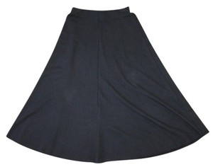 Zara A-line Midcalf Knit Skirt BLACK