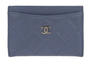 Chanel Chanel Blue CC Lambskin Quilted Card Holder