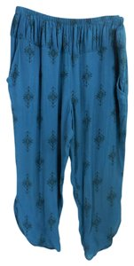 Free People Cropped Relaxed Boho 5096 99 Capris teal blue