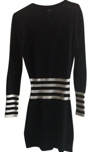 Chanel short dress dark navy with white stripes on cuffs and mid-waist on Tradesy