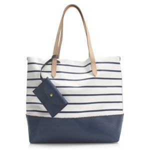 J.Crew Tote in White, Navy