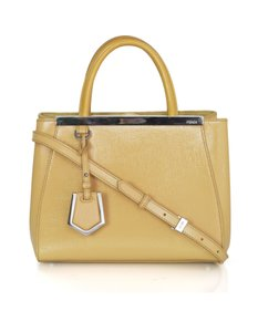 Fendi Petite 2jours Patent Leather Tote Satchel in yellow