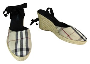 Burberry Beige Nova Black Wedge Espadrille Sandals