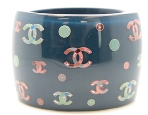 Chanel #11503 Multi CC charms crystals inlay extra wide cuff Bracelet bangle