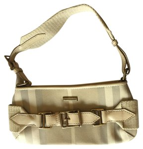 Burberry Leather Canvas Gold Hardware Shoulder Bag
