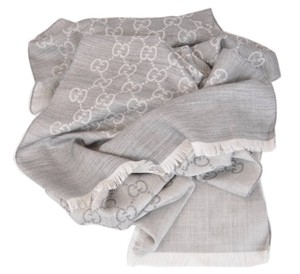 Gucci New Gucci 165904 Light Silver Grey Silk Wool GG Guccissima Scarf