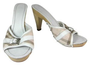 Burberry White Nova Leather Heels Wood Sandals
