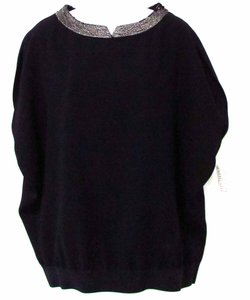 Elie Tahari Sequin Dolman Night Out Top Black