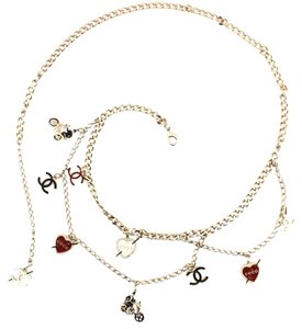 Chanel #11505 multi charm CC long triple chain gold necklace belt two way