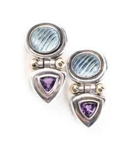 David Yurman David Yurman Silver Earrings with Topaz & Lolite
