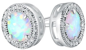 TORI HAMILTON 18K White Gold Plated White Fire Opal & Cubic Zirconia Stud Earrings