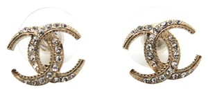 Chanel #11507 15C Dubai moon CC mini crystals gold pierced stud earrings