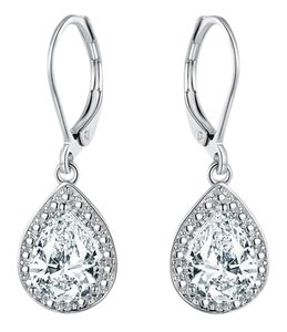 TORI HAMILTON 18K White Gold Plated 4.00CTTW Topaz & Diamond Accent Drop Earrings