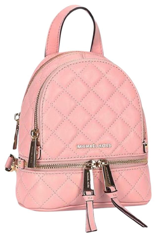 b4f99bd54c63 Michael Kors Extra Small Mini Rhea Messenger Pale Pink Quilted ...