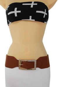 Other New Women Tie Belt Brown Hip Waist Big Gold Buckle Plus size M L