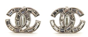 Chanel #11508 CC baguette crystals silver hardware clip on earrings