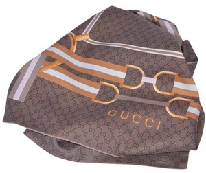 Gucci New Gucci 263753 Brown Horsebit Web Belts GG Guccissima Silk Scarf