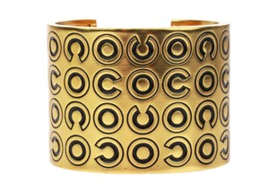 Chanel Chanel Gold Wide Coco Cuff Black