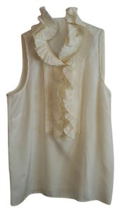 J.Crew Size Xs Sleeveless Silk Ruffle Top Ivory