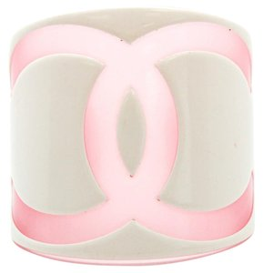 Chanel #11512 Large Wide CC White Pink Cuff Bracelet Bangle