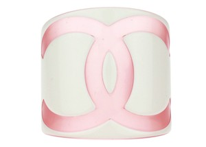 Chanel Chanel Pink CC Resin Wide Cuff Bracelet