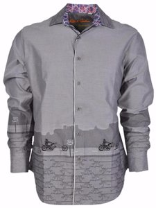 Robert Graham Shirt Men's Motorcycle Button Down Shirt Grey