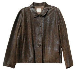 J. Jill Leather Leather Blazer Washed Leather Brown Leather Jacket