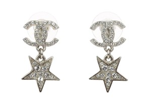 Chanel Chanel Silver CC Dangle Star Stud Earrings