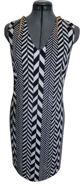 Item - Navy Blue and White Print with Zippers Mid-length Short Casual Dress Size 4 (S)