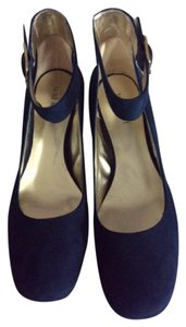 Nine West Suede Ankle Strap Navy Blue Pumps