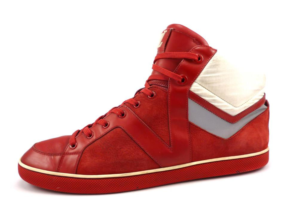 fddcfcb9249e Louis Vuitton Red Men s Leather Nylon High Top Sneakers Shoes - Tradesy