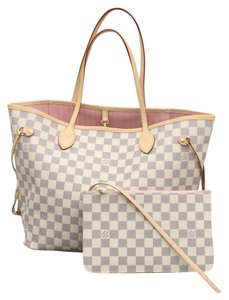 Louis Vuitton Timeless Pouch Tote in Damier Azure with ROSE BALLERINE