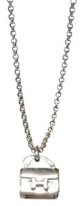 Herms Hermes Silver Necklace with Constance Pendant