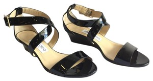 Jimmy Choo Wedge Strappy Patent Patent Leather Gold Hardware Black Sandals
