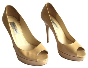 Jimmy Choo Platform Patent Leather Peep Toe Stiletto Beige Pumps
