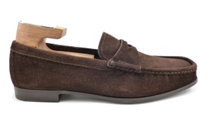 Prada Men's Shoes Suede Strap Loafers Brown